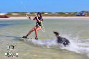 Girl kiteboarding